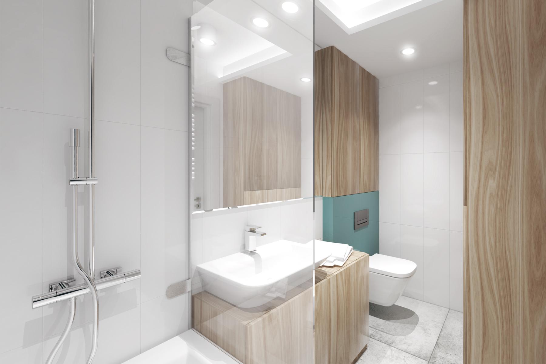 Projekty wnętrz - turkusowa łazienka w bloku.