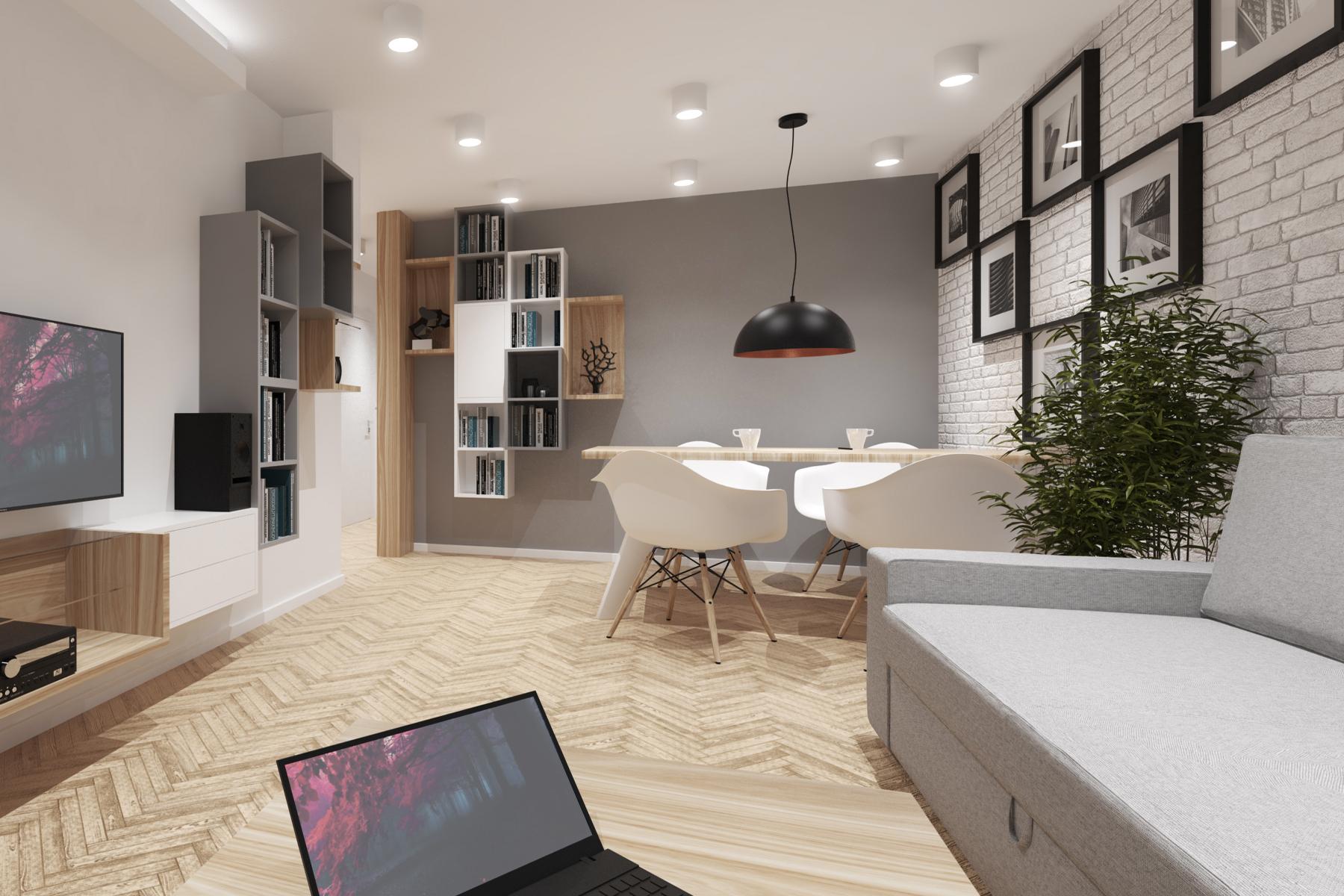 Projekty wnętrz - salon z jadalnią.
