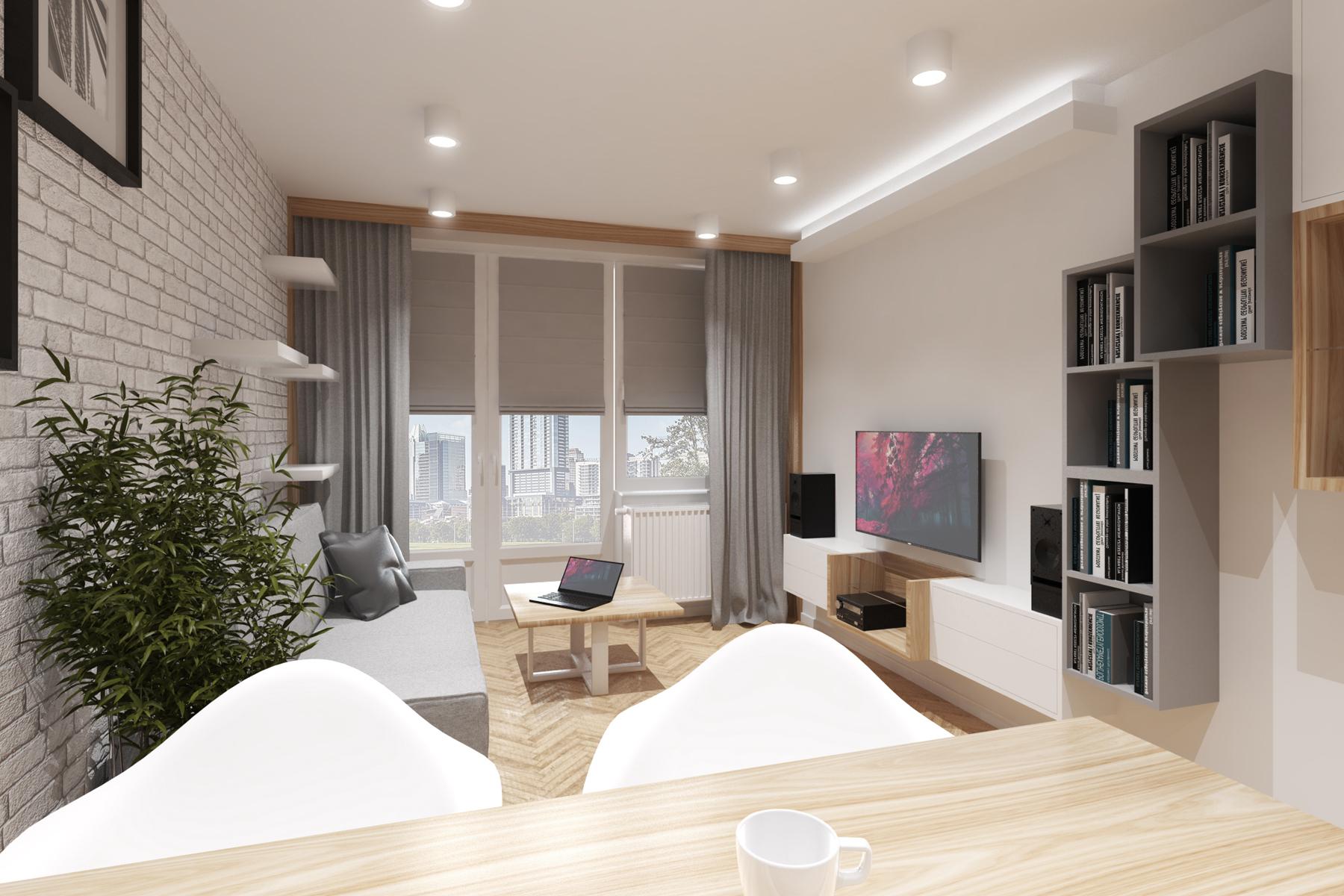 Projekty wnętrz - mieszkanie, salon z jadalnią.