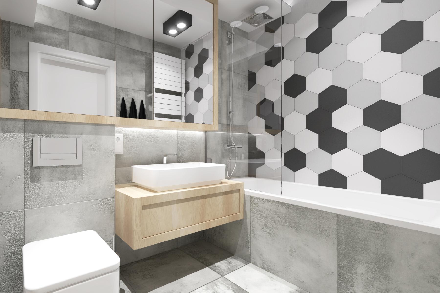 Projekty wnętrz - nowoczesna łazienka z heksagonami.