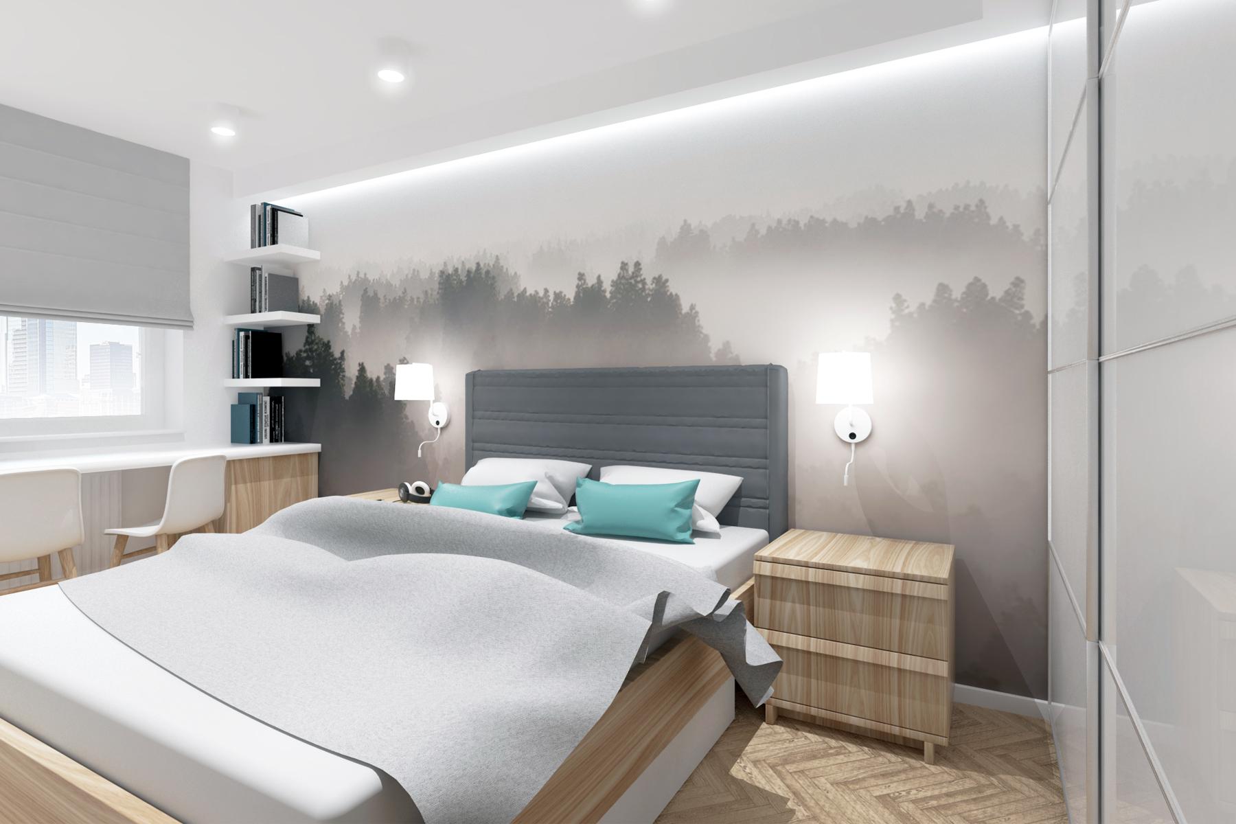 Projekty wnętrz - klimatyczna sypialnia z fototapetą.
