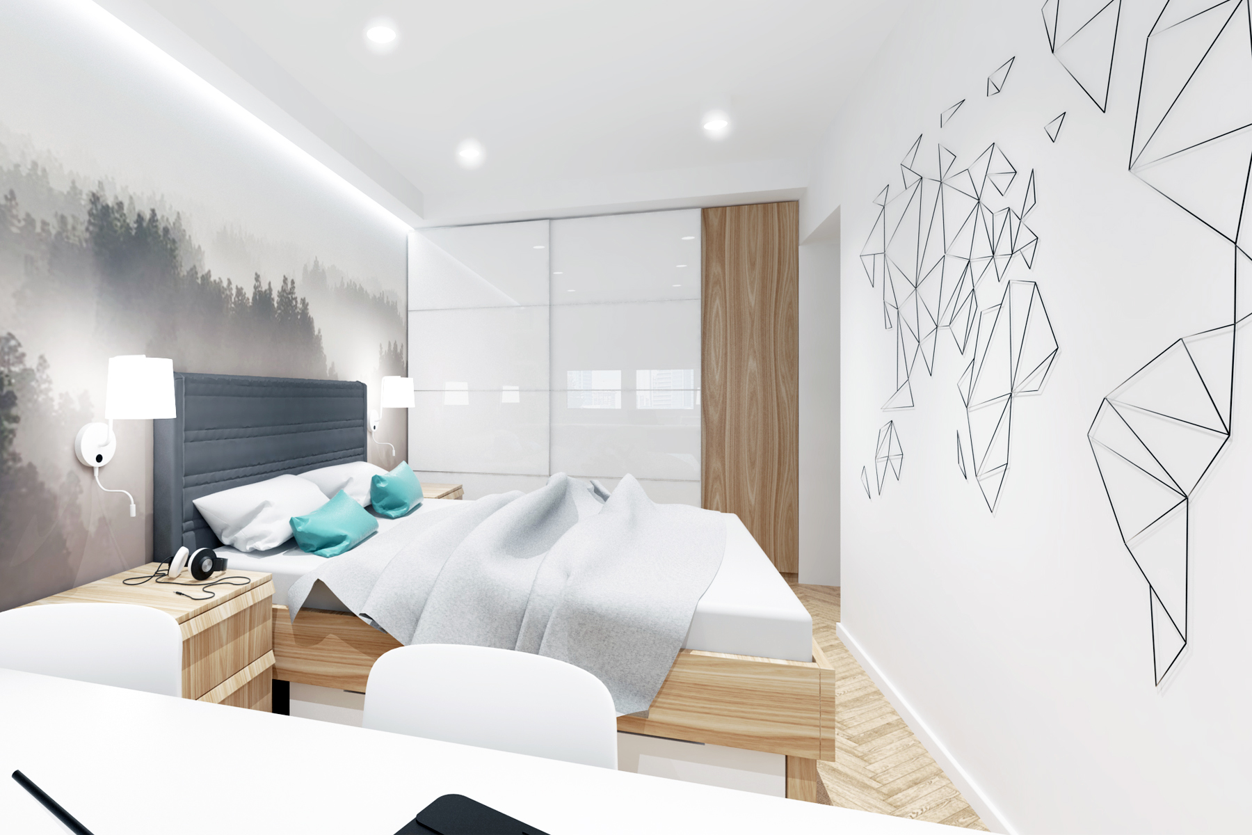 Projekty wnętrz - mieszkanie, klimatyczna sypialnia z fototapetą.