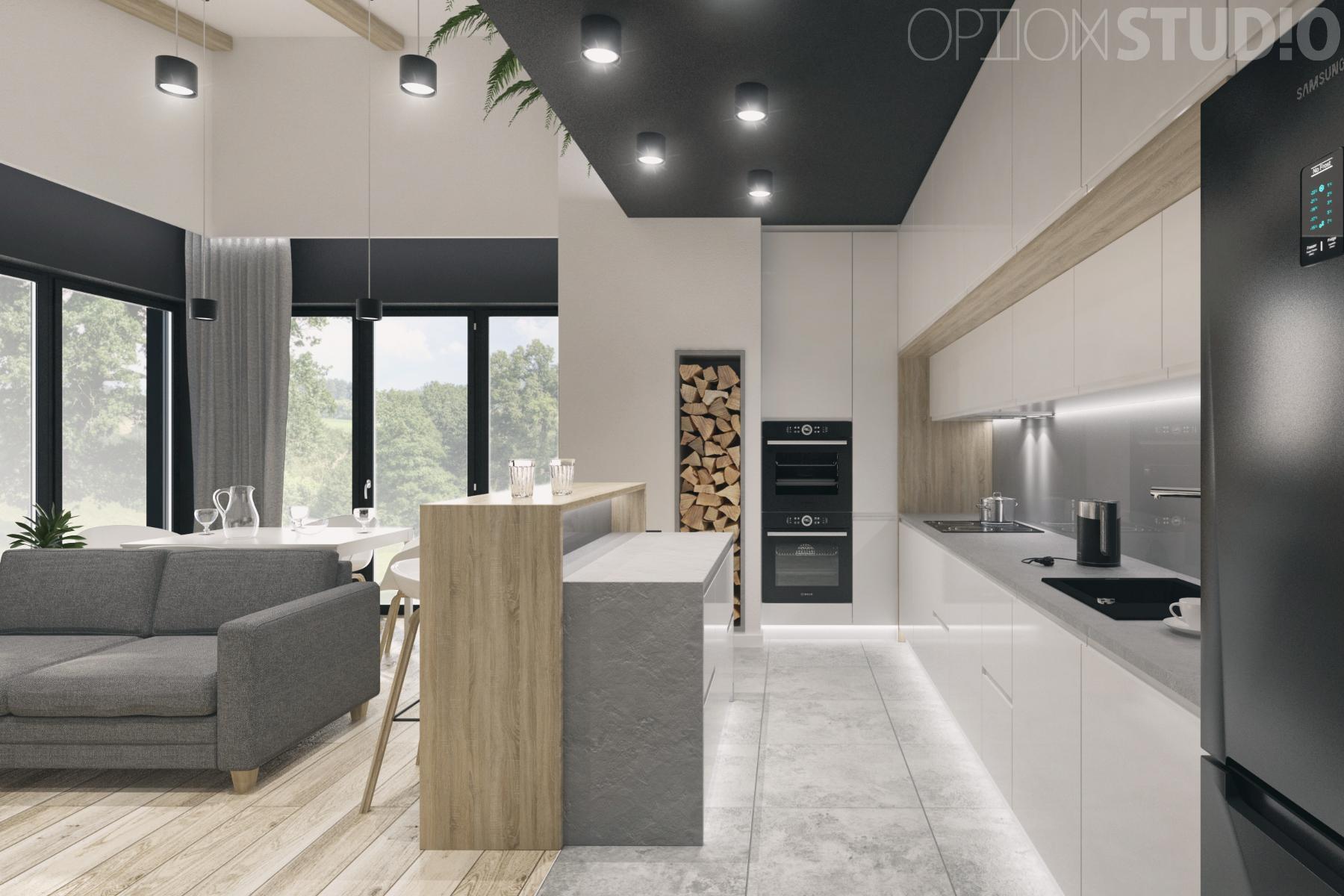 Projekty wnetrz nowoczesnych - salon i kuchnia z wyspa