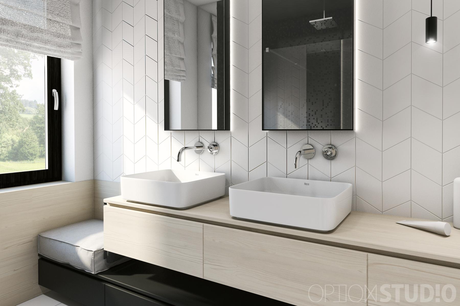 Architekt wnętrz - projekty wnętrz nowoczesnych - Łódź - łazienka z oknem 1