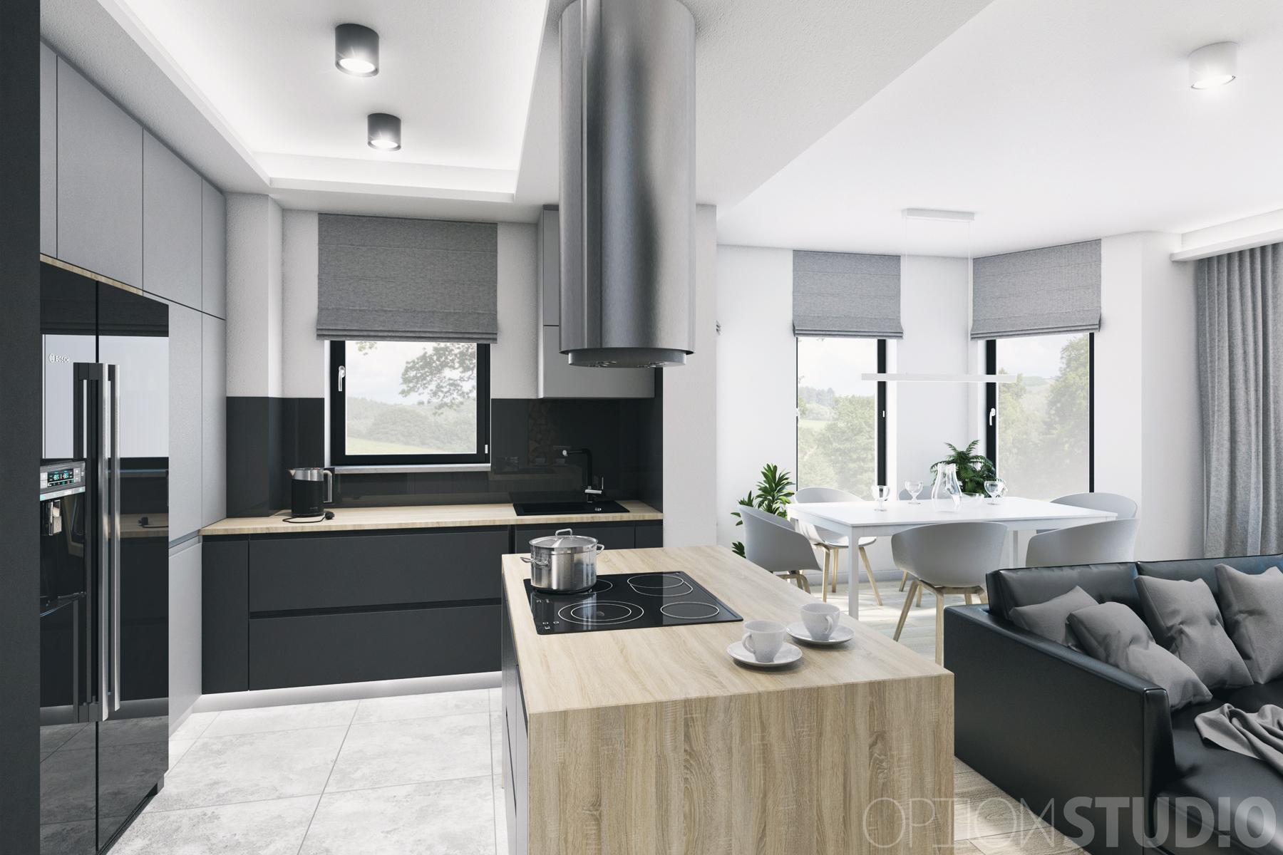 Architekt wnętrz – projekty wnętrz nowoczesnych – Łódź – salon z kominkiem i otwarta kuchnia z wyspą 1