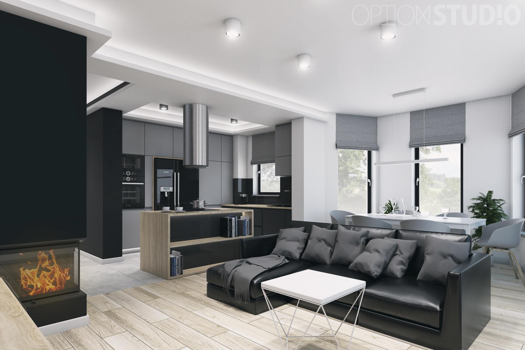 Architekt wnętrz – projekty wnętrz nowoczesnych – Łódź – salon z kominkiem i otwarta kuchnia z wyspą 2