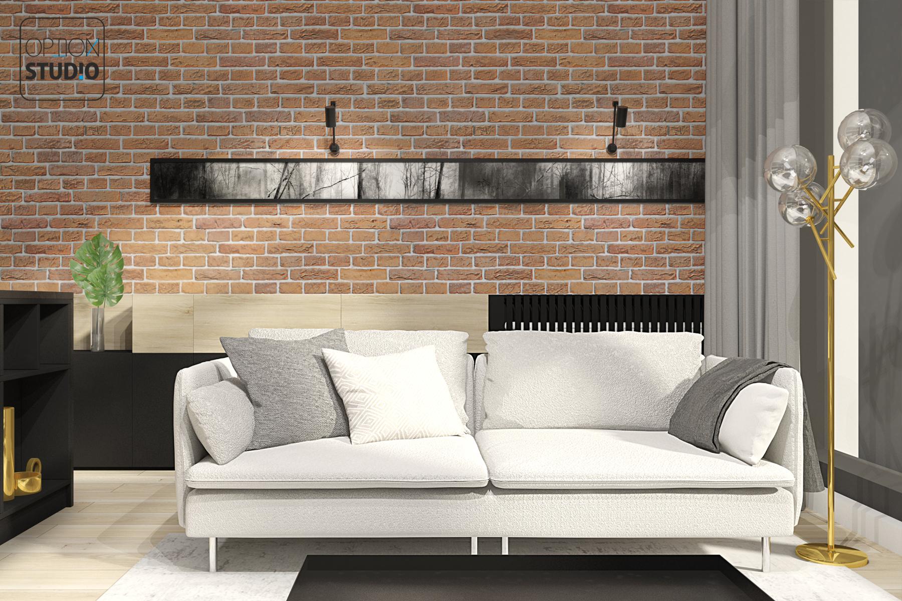 Architekt wnętrz - projekty wnętrz nowoczesnych - Łódź - nowoczesny minimalizm z elementami złota - projekt wnętrz salonu z aneksem kuchennym