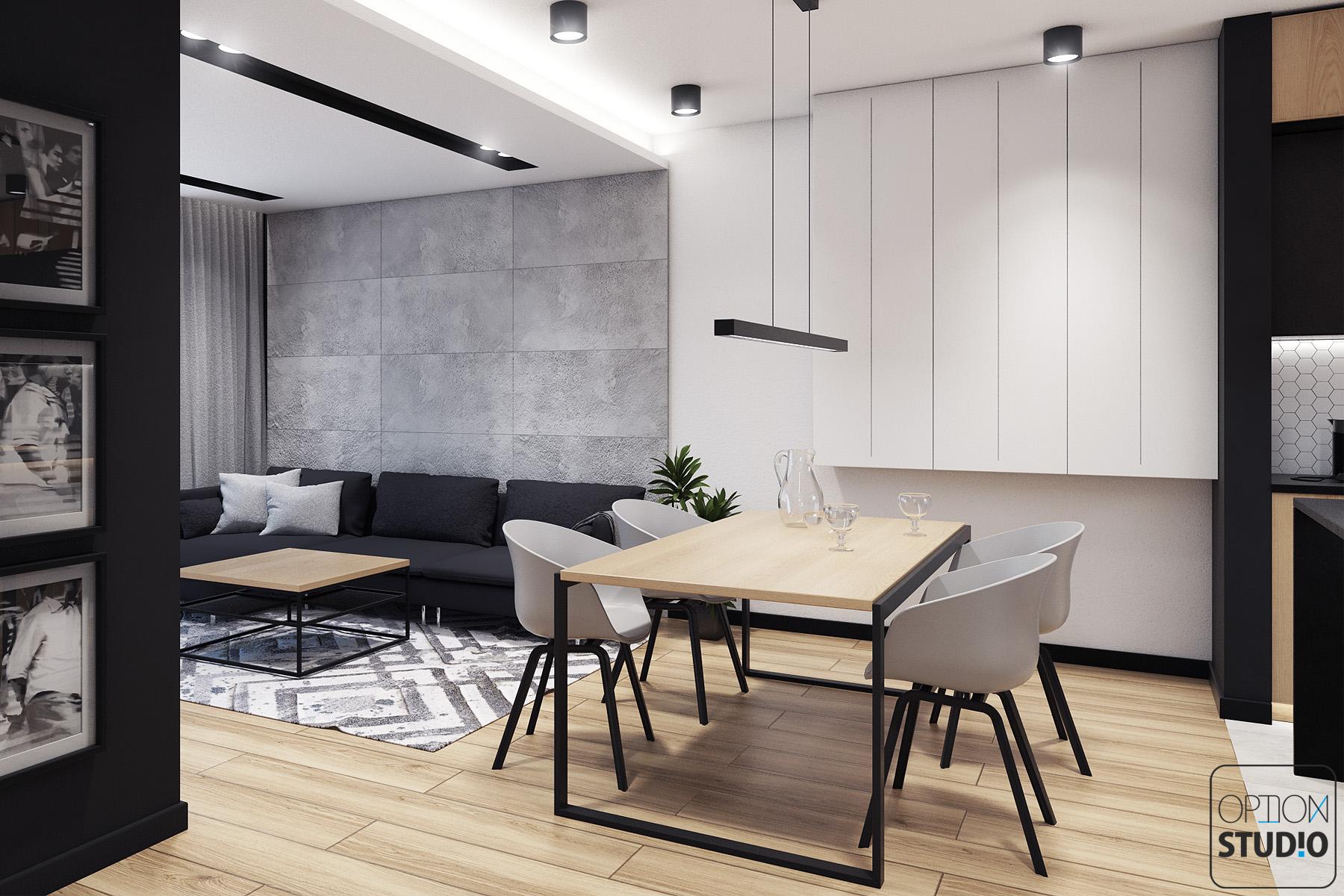 Architekt wnętrz - projekty wnętrz nowoczesnych - salon z aneksem kuchennym - aranżacje wnętrz domu pod Łodzią 1