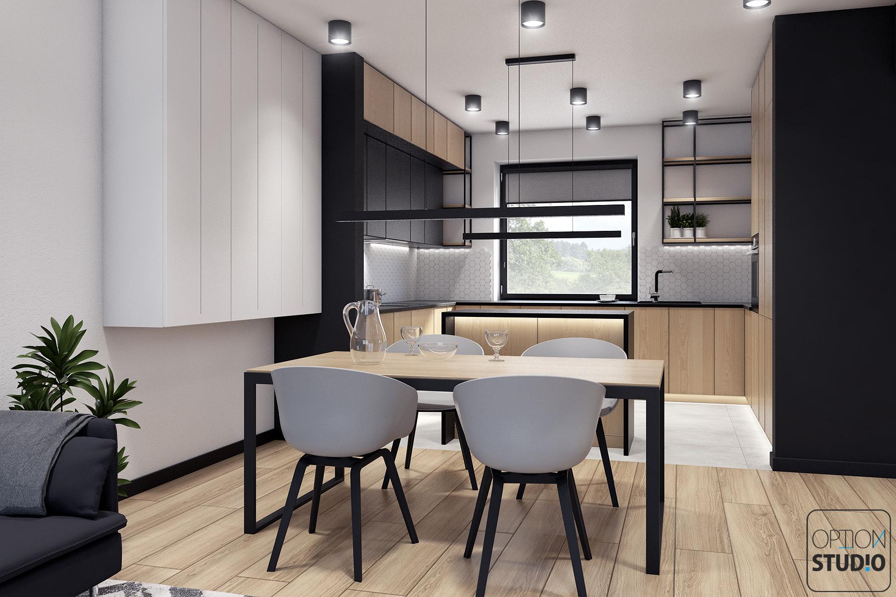 Architekt wnętrz - projekty wnętrz nowoczesnych - salon z aneksem kuchennym - aranżacje wnętrz domu pod Łodzią 2