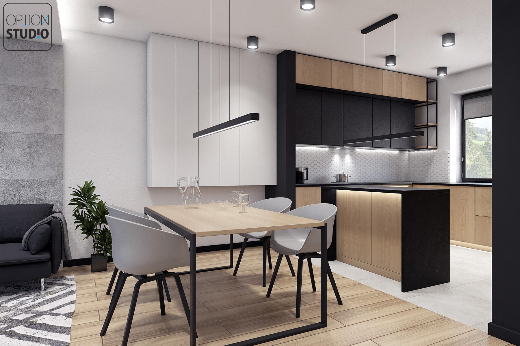 Architekt wnętrz - projekty wnętrz nowoczesnych - salon z aneksem kuchennym - aranżacje wnętrz domu pod Łodzią 3A