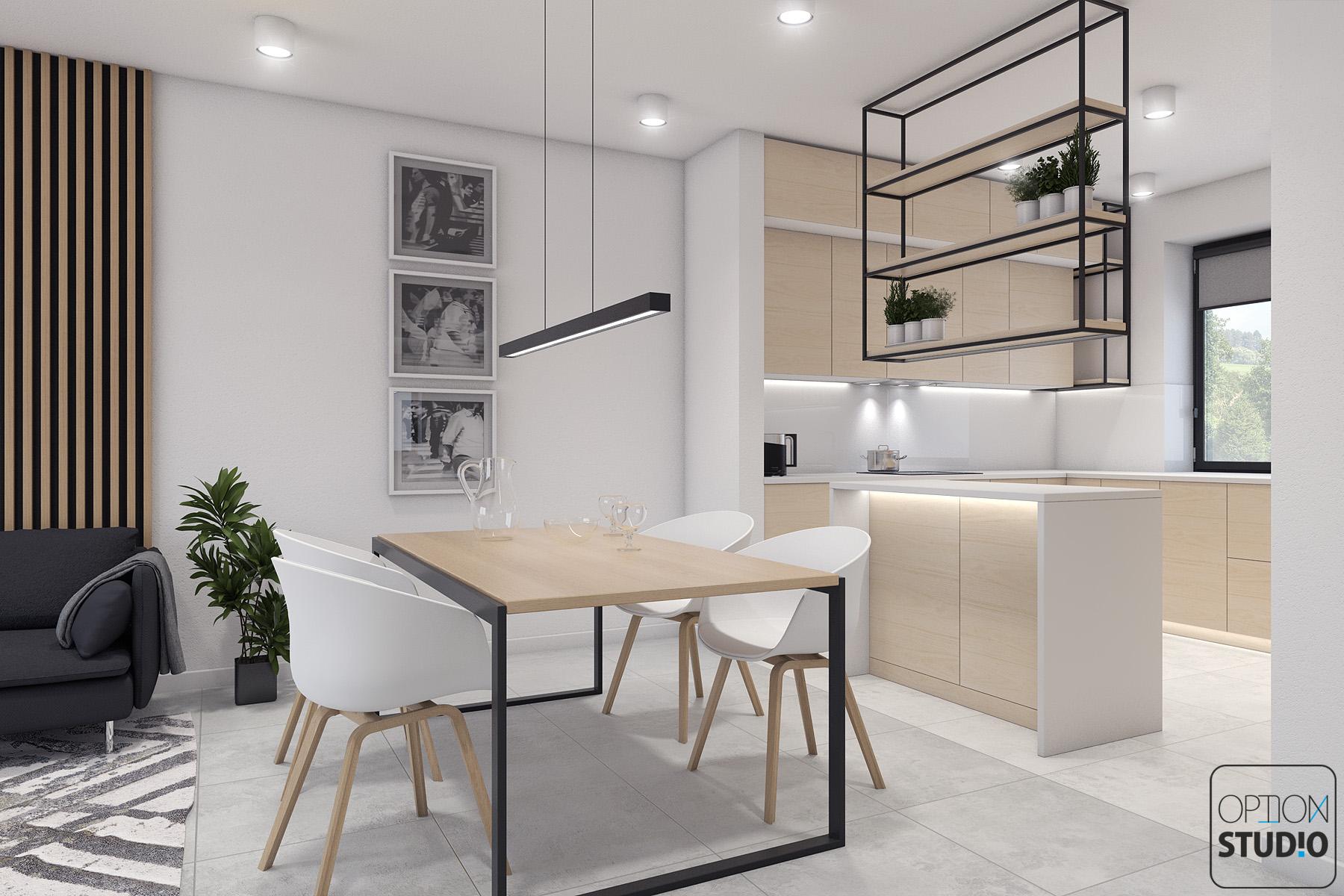 Architekt wnętrz - projekty wnętrz nowoczesnych - salon z aneksem kuchennym - aranżacje wnętrz domu pod Łodzią 3B