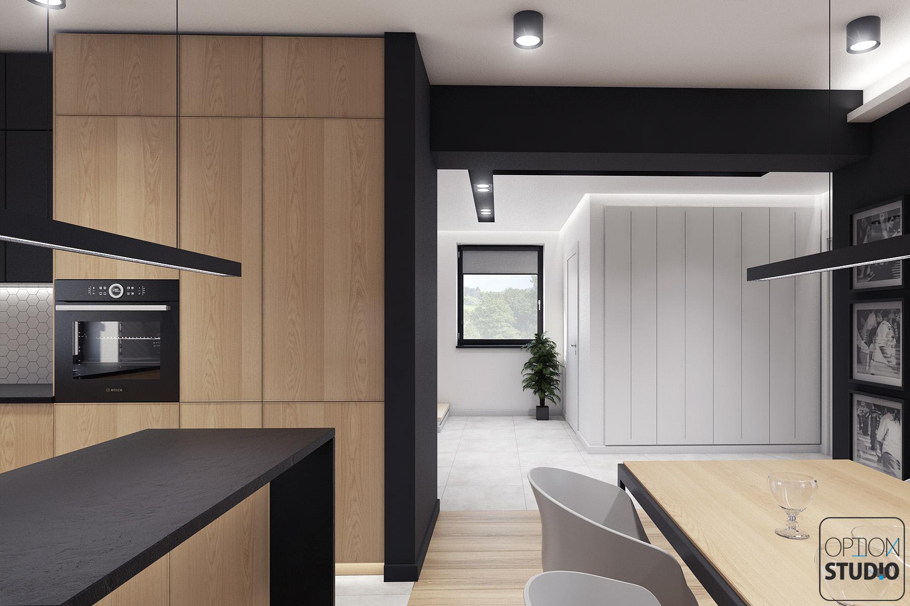 Architekt wnętrz - projekty wnętrz nowoczesnych - salon z aneksem kuchennym - aranżacje wnętrz domu pod Łodzią 4